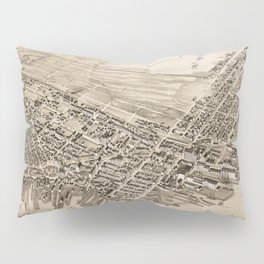 Vintage Pictorial Map of East Boston (1879) Pillow Sham
