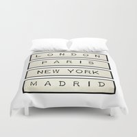 calendars Duvet Covers featuring London | Paris | New York | Madrid by Shabby Studios Design & Illustrations ..