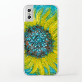 Sunflowers on Turquoise II Clear iPhone Case