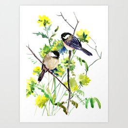 chickadees and Spring Blossom Art Print