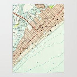 Vintage Map of Wildwood NJ (1955) Poster