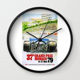 1979 Monaco Grand Prix Race Poster Wall Clock