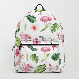 Pink green watercolor tropical hand painted flamingo Backpack