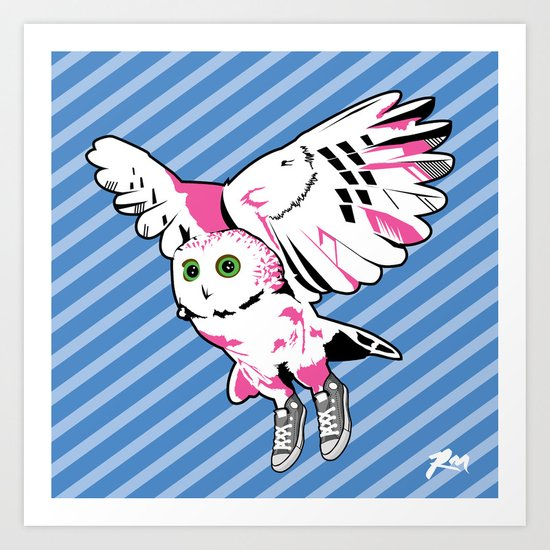 Owl w/ sneakers Art Print