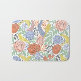 Bird Floral Bath Mat