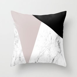 Pink, Black and Marble Geometric Throw Pillow