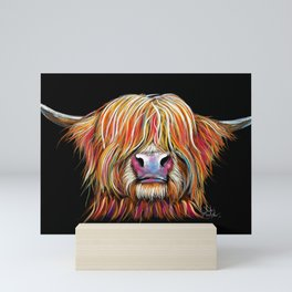 Scottish Highland Cow ' CHARMER ' by Shirley MacArthur Mini Art Print