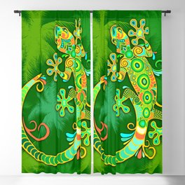 Gecko Lizard Colorful Tattoo Style Blackout Curtain