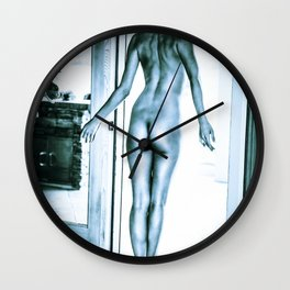 Tall Blue Boyish Brunette Nude Wall Clock