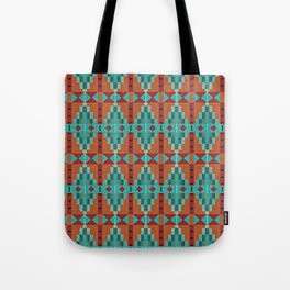 Orange Red Aqua Turquoise Teal Native Mosaic Pattern Tote Bag