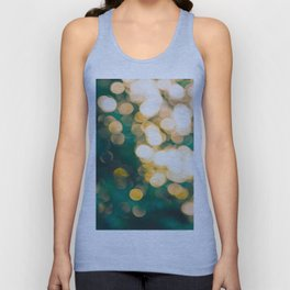 Green Turquoise Bokeh Blurred Lights Shimmer Shiny Dots Spots Circles Out Of Focus Unisex Tank Top