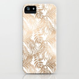 Luxury gold white tropical foliage floral pattern iPhone Case