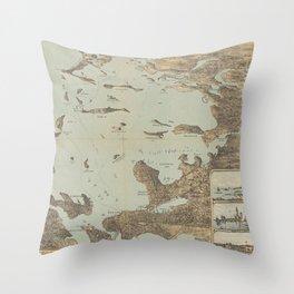 Vintage Pictorial Map of Boston Harbor (1879) Throw Pillow