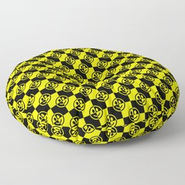 Yellow and Black Smiley Face Check Floor Pillow