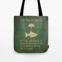 belle Tote Bags featuring Einstein by Tracie Andrews
