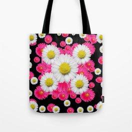 Festive Pink Gerbera & White Daisy Flowers Black Patterns Art Tote Bag