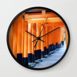 The Orange Torii Gates at Fushimi Inari Taisha, Kyoto Wall Clock