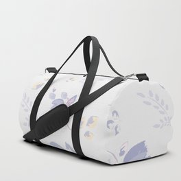 Spring watercolor leaves & tulips on white background Duffle Bag
