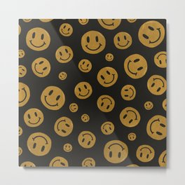 90's Smiley Face Pattern Metal Print