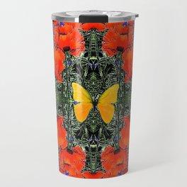 ORANGE POPPIES & YELLOW BUTTERFLIES PURPLE GARDEN ART Travel Mug