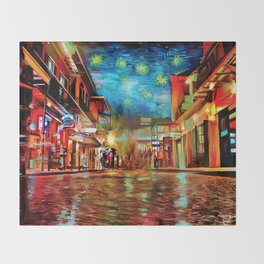 French Quarter Under the Stars Throw Blanket