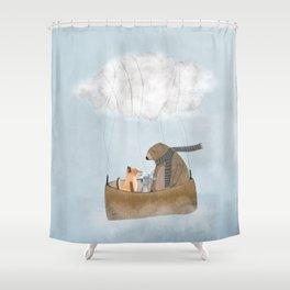 the cloud balloon Shower Curtain
