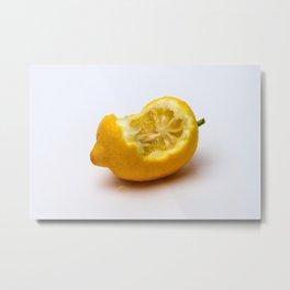 Keep smiling. Half eaten lemon Metal Print