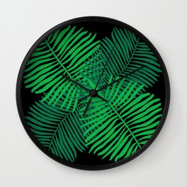 Modern Tropical Palm Leaves Painting black background Wall Clock