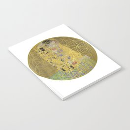 The Kiss - Gustav Klimt - Golden Flower Of Life Notebook