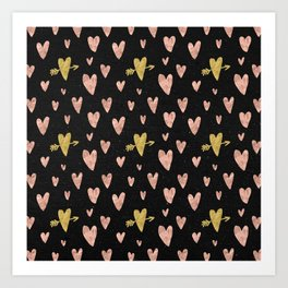 Rose Gold Hearts with Yellow Gold Hearts on Black Art Print