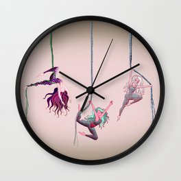 Aerial acrobats Wall Clock