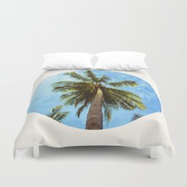 Mid Century Modern Round Circle Photo Looking Up At A Tropical Palm Trees Duvet Cover