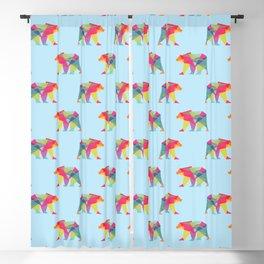 Fractal Bear - neon colorways Blackout Curtain