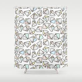 Polygonal stones and gemstones Shower Curtain