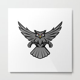 Horned Owl Swooping Front Mascot Metal Print