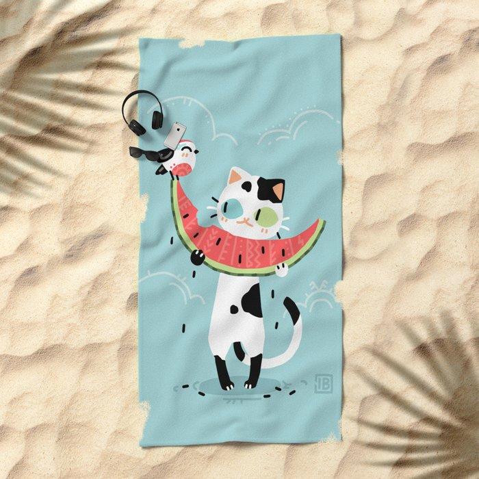 Watermelon Cat Beach Towel