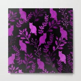 Watercolor Floral and Cat II Metal Print