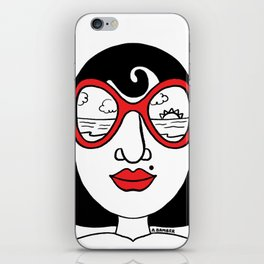California Dreaming Sunset View Sunglasses Woman iPhone Skin