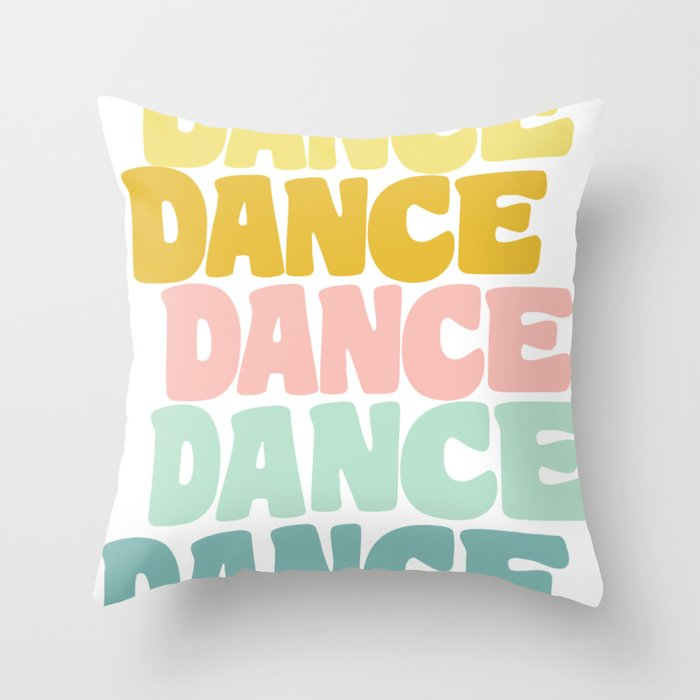 Dance in Candy Pastel Lettering Throw Pillow