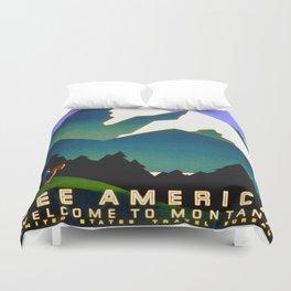 See America Montana - Retro Travel Poster Duvet Cover