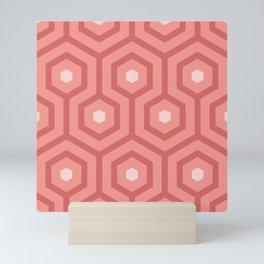 Art Deco salmon pink classic meandering hexagons Mini Art Print