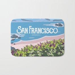 San Francisco, California Beach Succulents Illustration Bath Mat