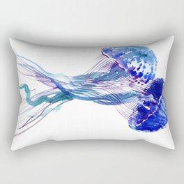Jellyfish, Aqua Blue Marine Beach Art Rectangular Pillow