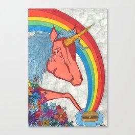 Unicorns love Hamburgers Canvas Print
