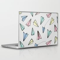 planes Laptop & iPad Skins featuring paper planes; by Pink Berry Patterns