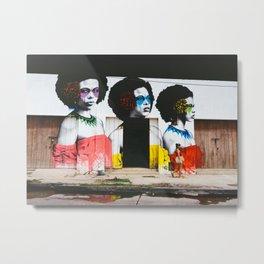 Cartagena, Colombia Street Art - Woman on Street Metal Print