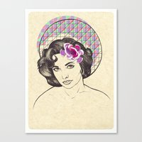 jenny liz rome Canvas Prints featuring Liz by Rosaria Degennaro Illustrations