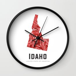 Idaho - State Map Art - Abstract Map - Red Wall Clock