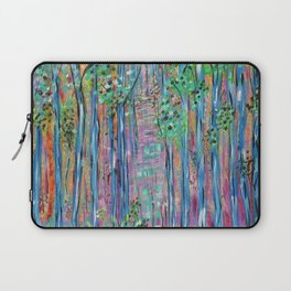 Teal Blue Abstract Forest Landscape, Forest Secrets, Fantasy Fairy Art Laptop Sleeve