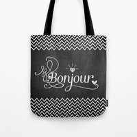 bonjour Tote Bags featuring Bonjour by Crea Bisontine